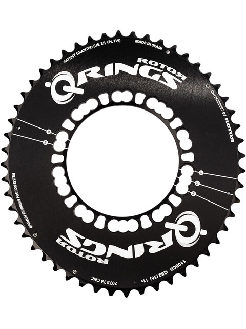 Rotor Q-Ring Road Aero kettingblad 110 mm 5-armig buiten zwart